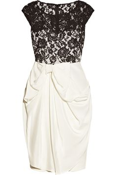 Ribbon cutting formal: a girl can dream can't she? Marchesa black lace over cream skirt