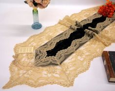 Table Runner luxury dining tabletop Christmas decoration dark brown Silk Velvet very rich French lace border and Swarovski crystals