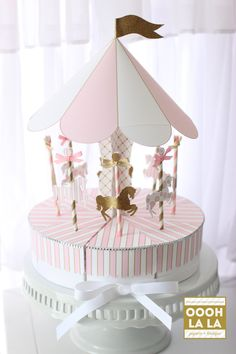 Oooh La La Glitz and Glamour Merry-Go-Round Favor Box Centerpiece Set with Rhinestone Trim by ooohlalapaperie on Etsy
