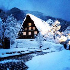 ShirakawaGo Japan during the winter light up on Valentines Day 2015