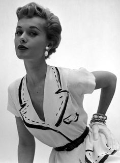 Love this look.  The collar and details are sketched onto the dress!  c. 1950s