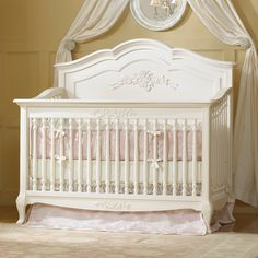 Angelina French White Convertible is finished in a lovely soft linen white cream. Solid wood construction crib and lovely assortment of designer casegoods