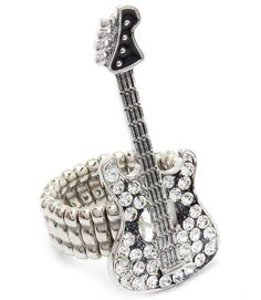 Amazon.com: Electric Guitar Stretch Ring Z4 Clear Crystals Burnish Silver Tone Musical Music Fashion Jewelry: Jewelry