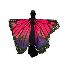 Ularma Schöner Chiffon Schmetterlingsflügel Schal 197*125CM Fee Cosplay Kostüm (Hot Pink)