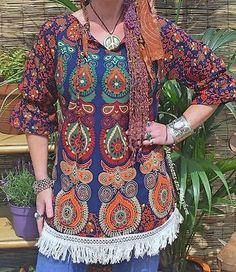 DIVINE NEW BLUE MANDALA SMOCK TOP UK SIZE 10 12  BOHO HIPPIE FESTIVAL TUNIC