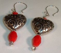 'Silver Puff Etched Heart Earrings w/Red Faced Czech Bea' is going up for auction at  1pm Wed, Feb 6 with a starting bid of $5.