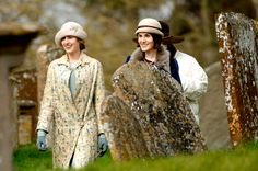 Downton Abbey, series 6, Lady Edith and Lady Mary, costumes, stylish, elegant, hats, great tv, photo