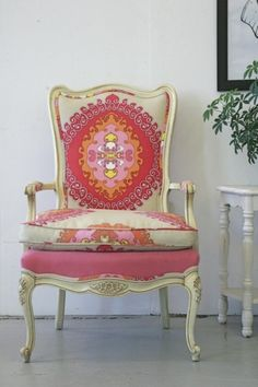 Chair LOVE.  Update an old chair with a new, funky fabric.  This one by Trina Turk is perfect.