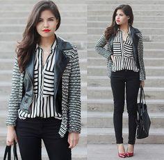 Faux Leather, Zara Horizontal Stripes Cardigan, Vertical Stripes Shirt, Skinny, Totebag, Red Heels, Necklace