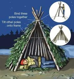 Seven Primitive Survival Shelters in case you find yourself lost or trapped out at night - just like I learned back in 6th grade camp / scouts!