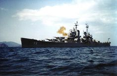 USS Saint Paul bombarding communist positions near Wonsan, Kangwon Province, Korea, 20 Apr 1951 Royal Navy, Us Navy, Heavy Cruiser, United States Navy, Submarines, Aircraft Carrier, World War Ii, American History, Saints