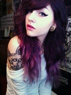 pretty hair cute tattoos colored hair colorful hair emo hair cabelos coloridos eye wings