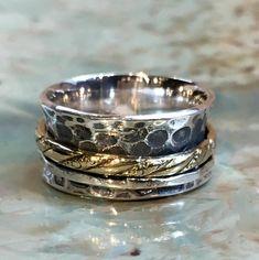 Silber Ehering böhmische Spinner Ring Angst Ring