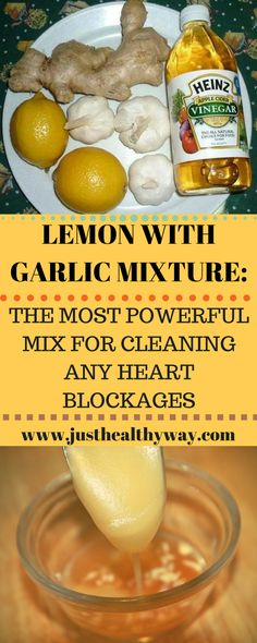 A combination of garlic and lemon is a potent natural remedy against numerous problems but is mainly aimed against cardiovascular problems such as high cholesterol, clogged arteries, high triglycerides and poor blood circulation. Natural Health Remedies, Natural Cures, Herbal Remedies, Natural Healing, Natural Foods, Natural Products, Natural Treatments, Cold Remedies, Natural Oil