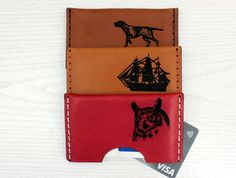 Business Card Holder Natural Leather Sailing Firefighter Celtic Dogs Horse Elephant Lion Cat Tiger Owl Dolphin Dog Cabriolet Air Altimeter