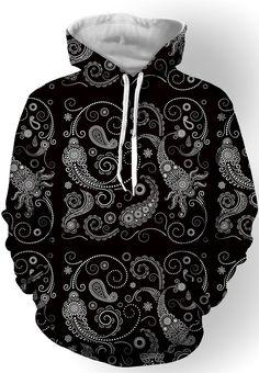 $22.05 Hooded Paisley Printed Long Sleeve Hoodie