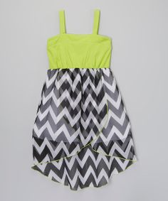 Take+a+look+at+the+Green+Zigzag+Hi-Low+Dress+-+Girls+on+#zulily+today!