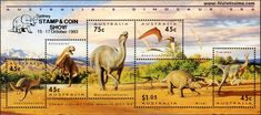 Dinosaurios    #sellos #filatelia # Australia #Leaellynasaura #Allosaurus #Muttaburrasaurus #Ornithocheirus #Minmi #Timimus