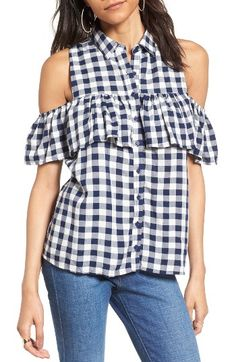Free shipping and returns on Love, Fire Gingham Cold Shoulder Top at Nordstrom.com. Set off for a picnic in the park in a shoulder-baring top that charms with classic gingham checks and a fluttery ruffle.