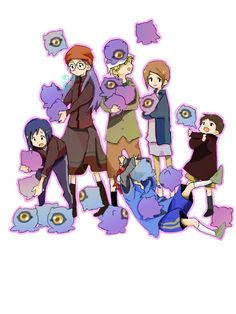 Digimon Movie Diaboromon Strikes Back: Ken, Yolei, T.K, Kari, Davis, and Cody with Kuramon
