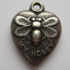 """Antique Puffy Heart Charm """"Bee My Honey"""" Rebus engraved """"Frances L"""" on rubylane.com"""