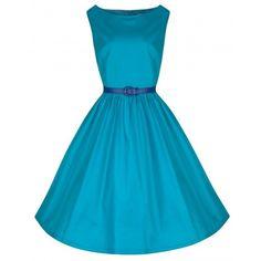 'Audrey' Vibrant Blue 50's Inspired Swing Dress ($34) ❤ liked on Polyvore featuring dresses, blue, skater skirt, blue cotton dress, flared skirt, blue dress and blue skater skirt