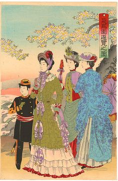 "non-westernhistoricalfashion: "" mademoiselle-iona: "" Emperor Meiji taking a stroll. "" In Emperor Meiji issued a mandate requiring high officials, sailors, and army officers to wear Western-style. Japanese Artwork, Japanese Painting, Japanese Prints, Japanese History, Japanese Culture, Illustrations, Illustration Art, Era Meiji, Samurai"