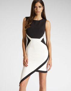 Wrap Asymmetric Skirt Dress BlackWhite | Dresscab