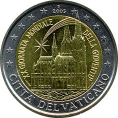 commemorative coins - Vatican City World Youth Day held in Cologne in August Commemorative 2 euro coins from Vatican City World Youth Day, Euro Coins, Gold Money, Gold And Silver Coins, Commemorative Coins, Gold Bullion, World Coins, Vatican City, Italy