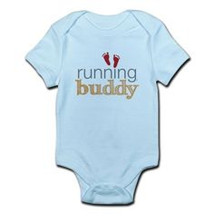 Shop Running Buddy Orange Infant Bodysuit Baby Light Bodysuit designed by PonderOnDemand. Cute Onesies, Running Buddies, Kenny Chesney, Perfect Gift For Mom, Shower Baby, Baby Birthday, Little Babies, Baby Bodysuit, Kid Stuff