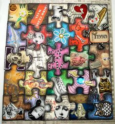 altered puzzle idea - so cool. find a small puzzle, randomly and separately make each piece then fit it together.  this would be really cool framed if you had a bigger puzzle to do.  fun!