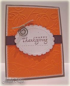 Our Creative Corner: OCC Challenge - Limited Supplies Thanksgiving Greeting Cards, Fall Cards, Winter Cards, Holiday Cards, Handmade Thanksgiving Cards, Cricut Cards, Stampin Up Cards, Embossed Cards, Halloween Cards