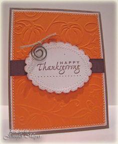 Thanksgiving card....want this embossing folder! Cuttlebug pumpkin harvest