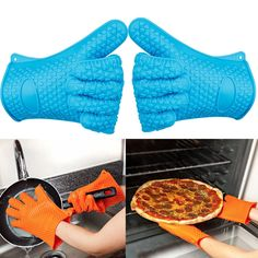 Xmas 2X (1 Pair) Bbq Heat Resistant Silicone Gloves Oven Grill Bbq Cooking Mitts