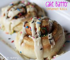 Cake Batter Cinnamon Rolls! They are absolutely AMAZING and the frosting is INCREDIBLE!