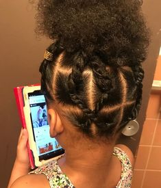 Image may contain: one or more people and closeup Lil Girl Hairstyles, Black Kids Hairstyles, Natural Hairstyles For Kids, Kids Braided Hairstyles, Mixed Baby Hairstyles, Toddler Hairstyles, Short Hairstyles, Little Girl Braids, Braids For Kids