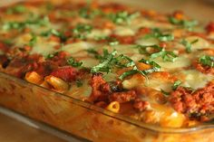 most amazing baked ziti ever. (with hamburger instead of sausage and ricotta instead of cottage cheese).
