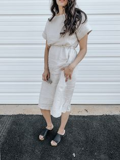 The Isla dress features a drop shoulder top with an elastic waist. Hidden side pockets make this the perfect any occasion dress. linen Hand made to order Occasion Dresses, White Dress, Handmade, Fashion, Casual Gowns, Moda, Hand Made, Occasion Wear Dresses, Fashion Styles