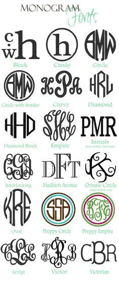 monogram | Monogram Styles Name Styles Thread Colors Vinyl Decal Fonts Vinyl ...