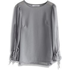 Chicwish Sheer Silver Crepe Top with Split Sleeves featuring polyvore, fashion, clothing, tops, grey, gray top, sheer sleeve top, wet look top, see through tops and relaxed fit tops