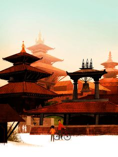 alley cats and drifters: Children's Book Competition 2012 Katmandu - Ancient Temples of Durbar Square Chinese Buildings, Ancient Chinese Architecture, Building Illustration, Illustration Art, Photoshop, Deco Paint, Conceptual Drawing, Alley Cat, Travel Icon