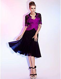 TS Couture Cocktail Party / Wedding Party Dress - Grape Plus Sizes / Petite A-line / Princess V-neck / Spaghetti Straps Tea-lengthTulle / Stretch