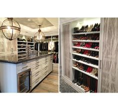 Two images of a lovely walk in closet featuring a large island dresser with mini fridge and tons of room for shoes.   Designed by http://laclosetdesign.com/