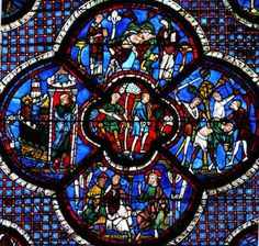 vitral   Arte  Catedral de Chartres. Vitral de la parábola del Buen Samaritano