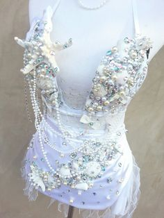 Winter sea goddess ♥  Adult Mermaid Custom Rave Outfit!  White Like Winter with Sea Shells Rhinestones and Swarovski Crystals. This costume is amazing