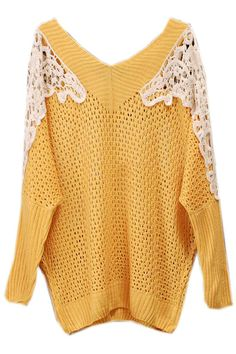 ROMWE | Hollowed Lace Shoulders Yellow Jumper, The Latest Street Fashion