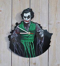 Dark Hero HANDPAINTED Handmade Vinyl Record Wall Clock - Get unique home room wall decor - Gift ideas for adults, friends, boys - Figure Unique Art Design