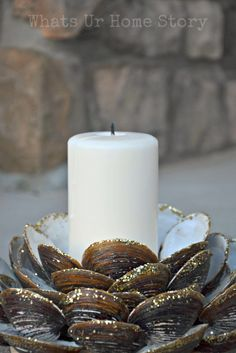 DIY Seashell Candle Holder from Clam shells