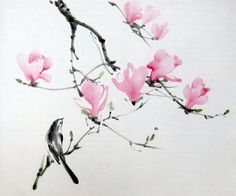 It is a magnolia tree, painted with Sumi - ink and Gansai (Japanese watercolor) on the rice paper.