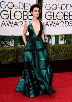 Pin for Later: You'll Go Crazy For the Casual Trend That Swept the Red Carpet at the Golden Globes Jaimie Alexander Wearing a Genny dress and Lorraine Schwartz jewels.